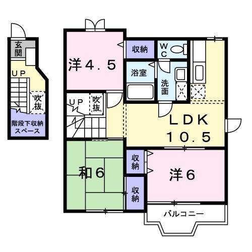 ピースフル2000 Ⅰ 2階の物件の間取図