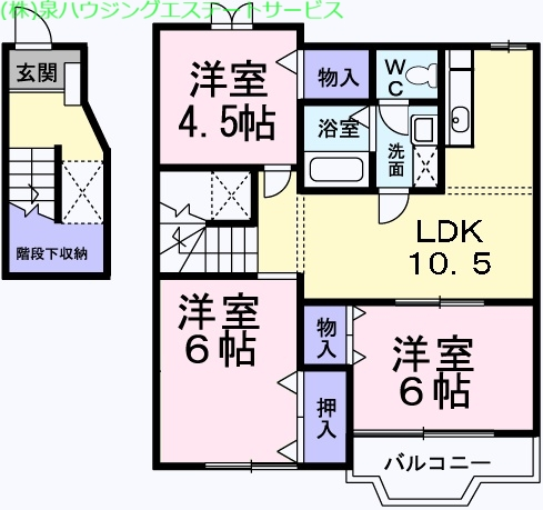 ピースフル2000 Ⅱ 2階の物件の間取図