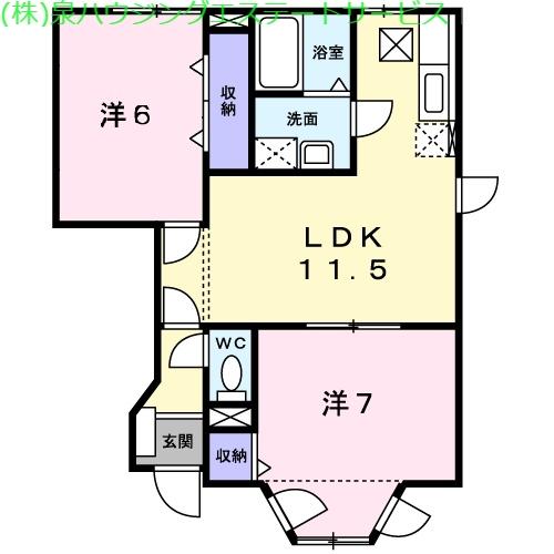 アヴニールA 1階の物件の間取図