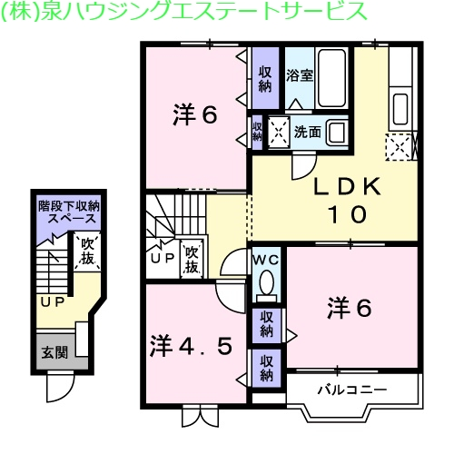 アヴニールA 2階の物件の間取図