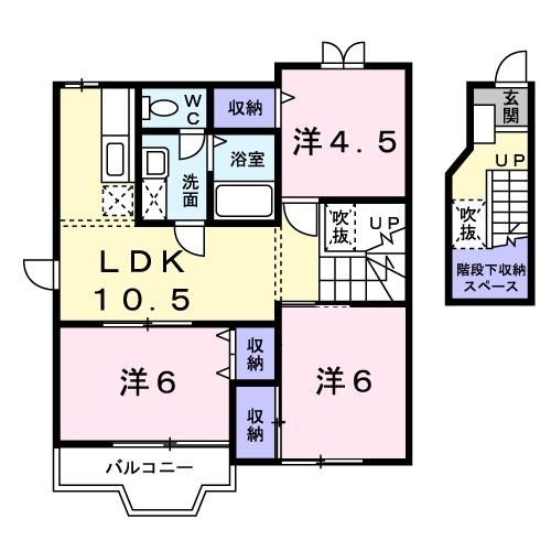K・レジデンスⅠ 2階の物件の間取図