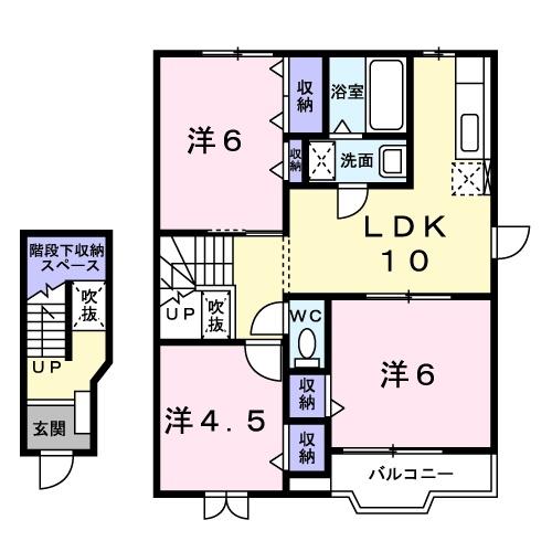 プリムヴェールⅡ 2階の物件の間取図