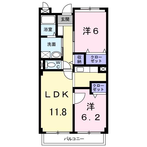 フォンテーヌ・パレスB 1階の物件の間取図