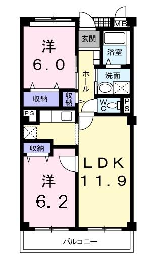 フォンテーヌ・パレスB 2階の物件の間取図