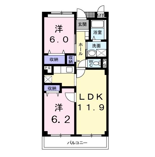 フォンテーヌ・パレスB 3階の物件の間取図