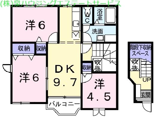 パレ・リヴィエールⅡ 2階の物件の間取図