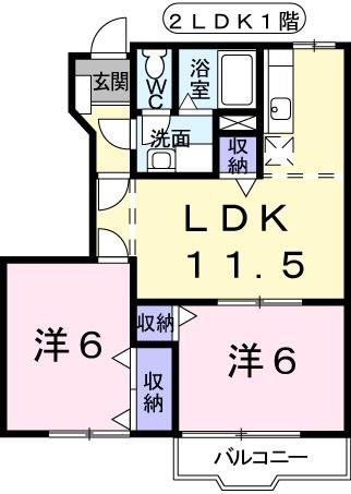 アヴニールⅠ 1階の物件の間取図