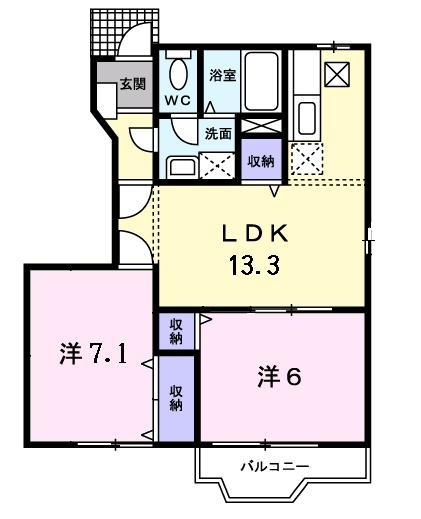 クレーデレ ドーノ メグミ 1階の物件の間取図
