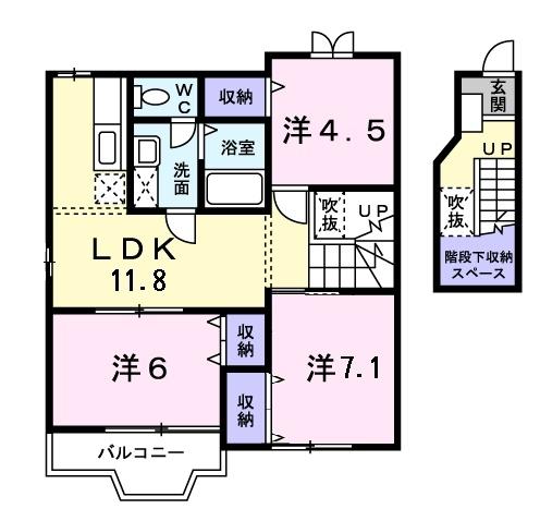 クレーデレ ドーノ メグミ 2階の物件の間取図