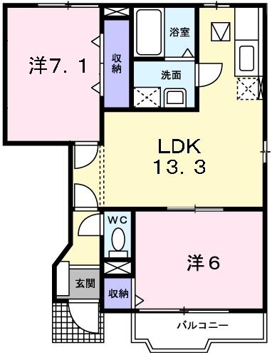 カーサ ラウレールⅠ 1階の物件の間取図