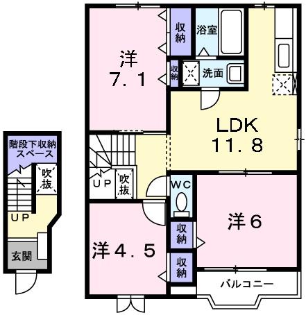 カーサ ラウレールⅠ 2階の物件の間取図