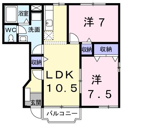カーサ ラウレールⅡ 1階の物件の間取図
