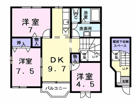 カーサ ラウレールⅡ 2階の物件の間取図