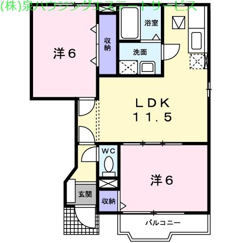 サンバティークⅠ 1階の物件の間取図