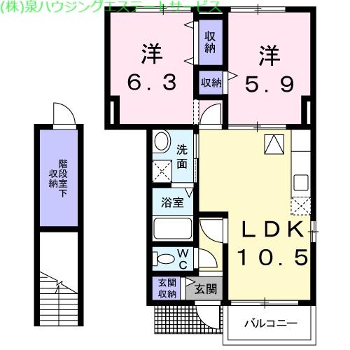 コンフォルターブルⅡ 1階の物件の間取図