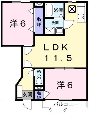 クラ-ル・アイA 1階の物件の間取図