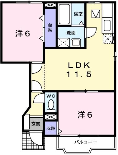 クレーデレ ドーノ ヨッシーⅡ 1階の物件の間取図