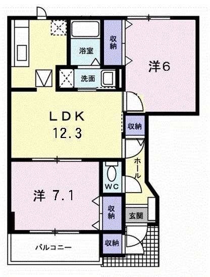 ア・ラ・モード エムⅡ 1階の物件の間取図