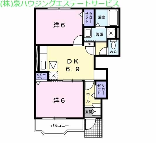 デルソーレA 1階の物件の間取図