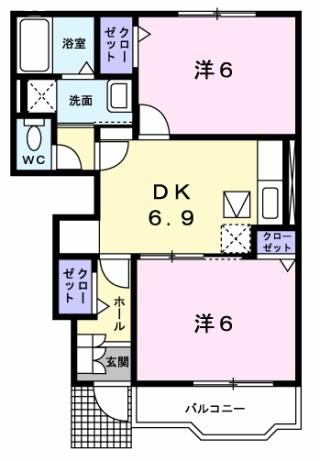 デルソーレB 1階の物件の間取図