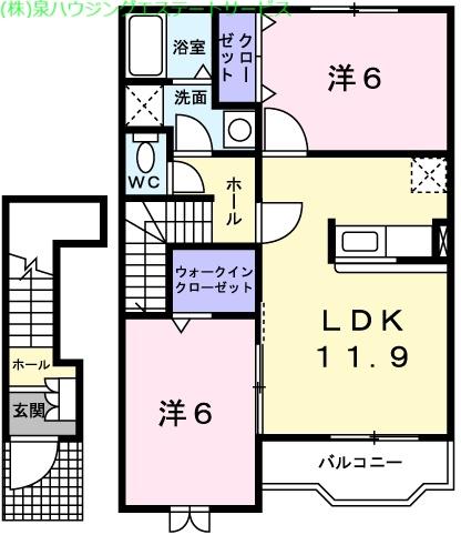 デルソーレB 2階の物件の間取図