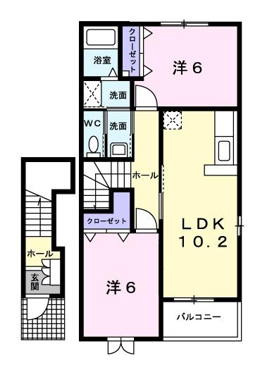 コンフォルターブルⅣ 2階の物件の間取図