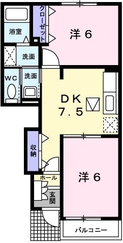 アルカンシエルⅢ 1階の物件の間取図