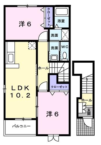アルカンシエルⅢ 2階の物件の間取図