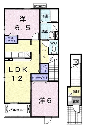 マウントリヴァⅥ 2階の物件の間取図