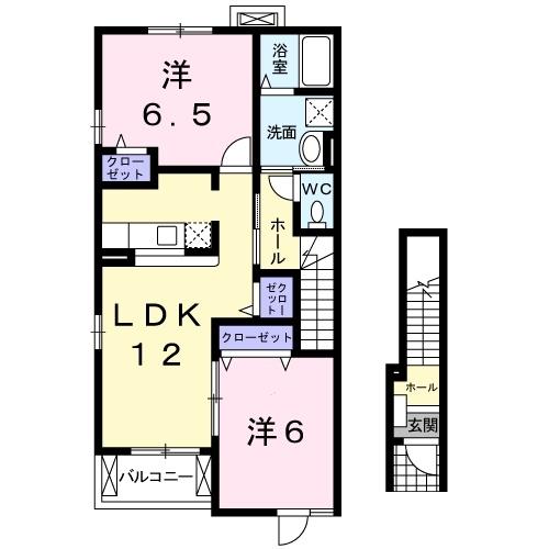 サンライト若松 Ⅰ 2階の物件の間取図
