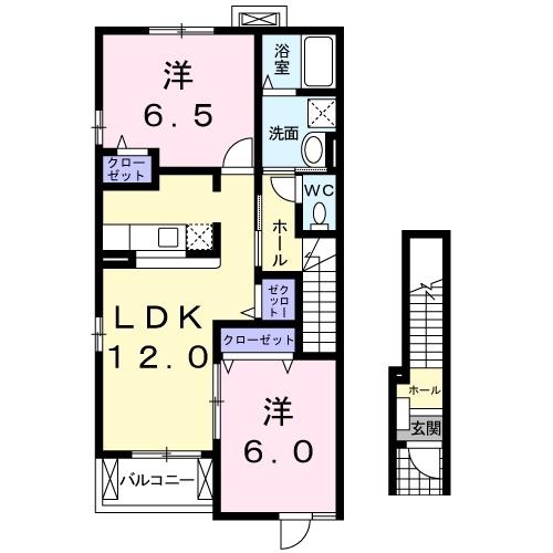 サンライト若松 Ⅱ 2階の物件の間取図