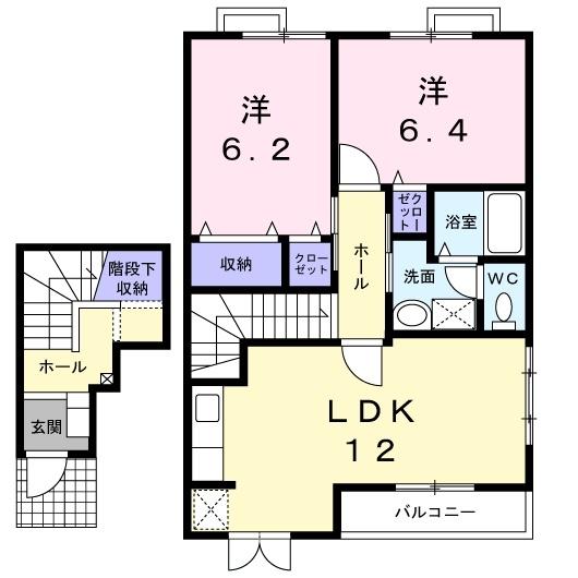 エトワール A 2階の物件の間取図