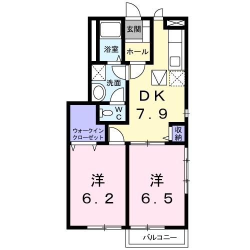 エトワール B 1階の物件の間取図