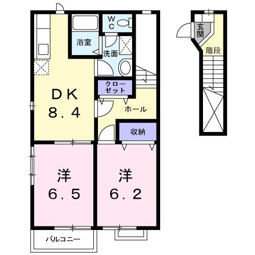 エトワール B 2階の物件の間取図