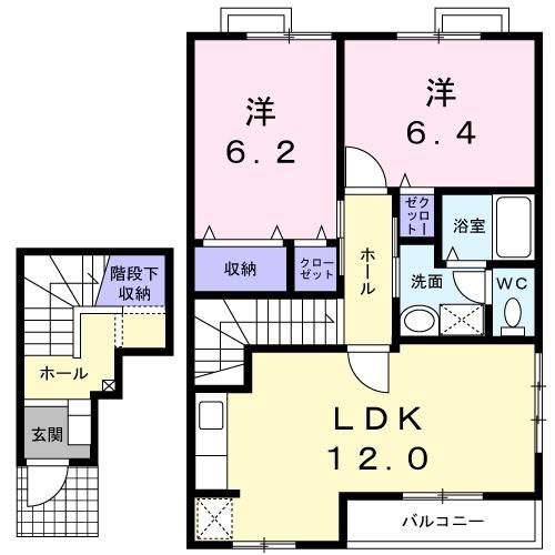 エトワール C 2階の物件の間取図