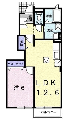 カーサ エテルノⅡ 1階の物件の間取図