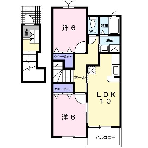 カーサ エテルノⅡ 2階の物件の間取図
