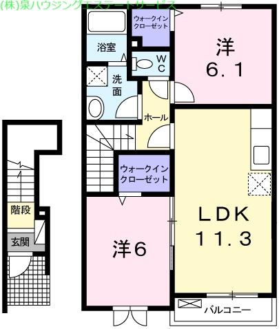 クレアール 2階の物件の間取図
