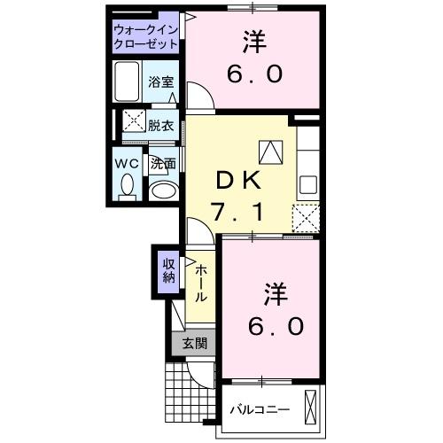 クレーデレドーノタカ&ヨッシー 1階の物件の間取図