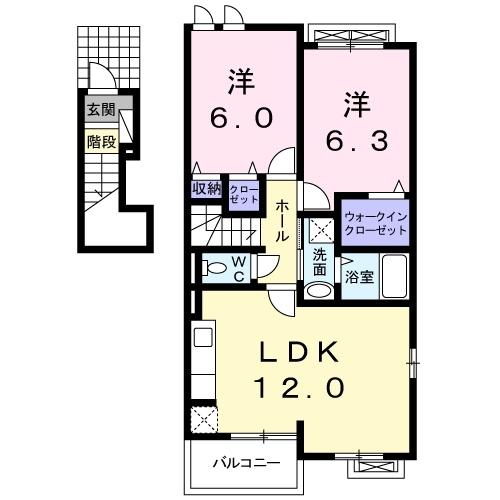 ウィンドミル 2階の物件の間取図
