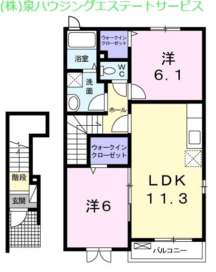 シャルロットⅢ 2階の物件の間取図