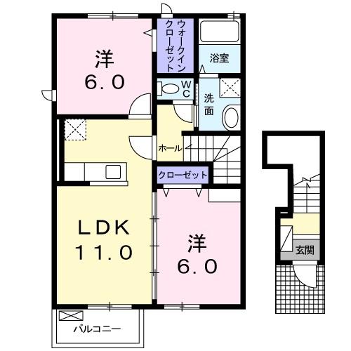 ラシュレⅡ 2階の物件の間取図