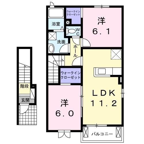 サリュー Ⅳ 2階の物件の間取図