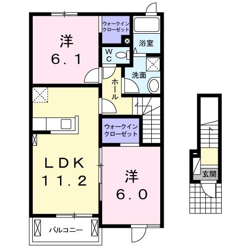 エクセランメゾンA 2階の物件の間取図