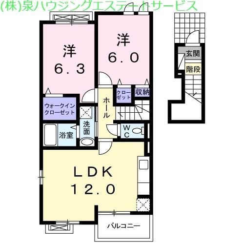 HSKイーストヒルズ 2階の物件の間取図