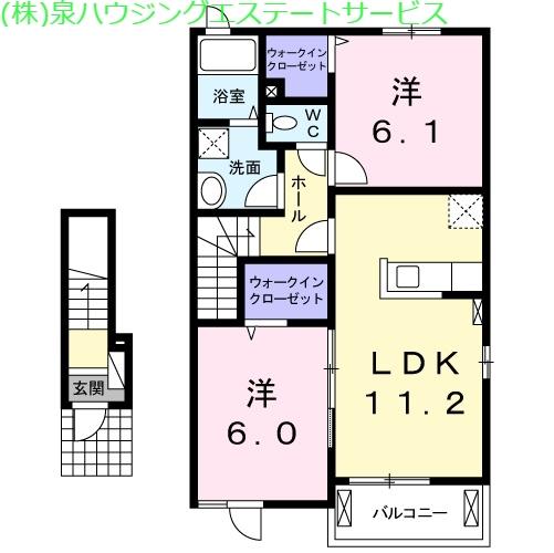 ドゥマン クレールⅡ 2階の物件の間取図