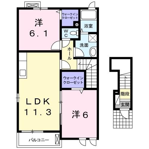 フォーシーズンⅢ 2階の物件の間取図