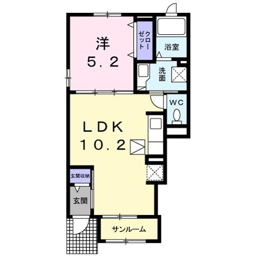 レジデンス オオギⅤ 1階の物件の間取図