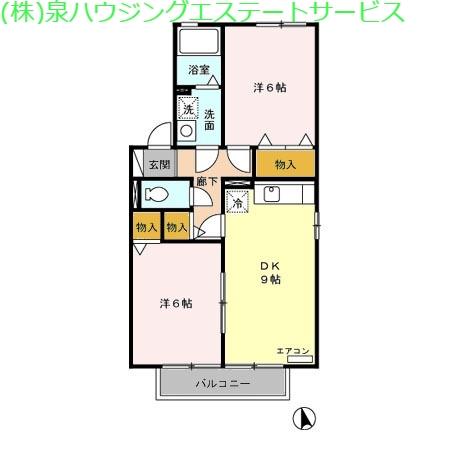 グランディア 2階の物件の間取図