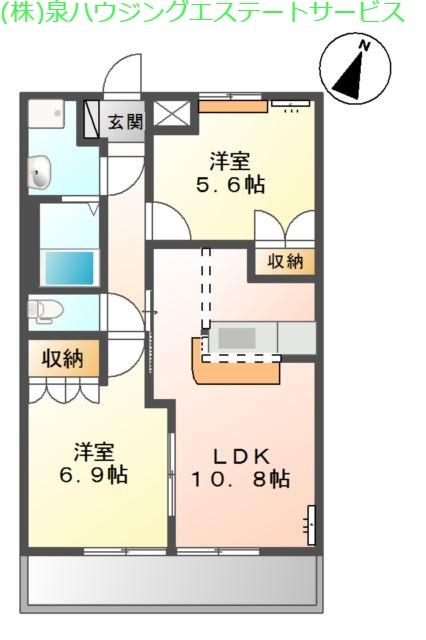 エスポアールA 2階の物件の間取図